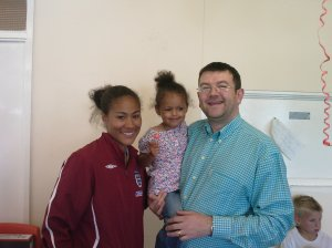 Rachel Yankey with Saffron and Mark Bowen
